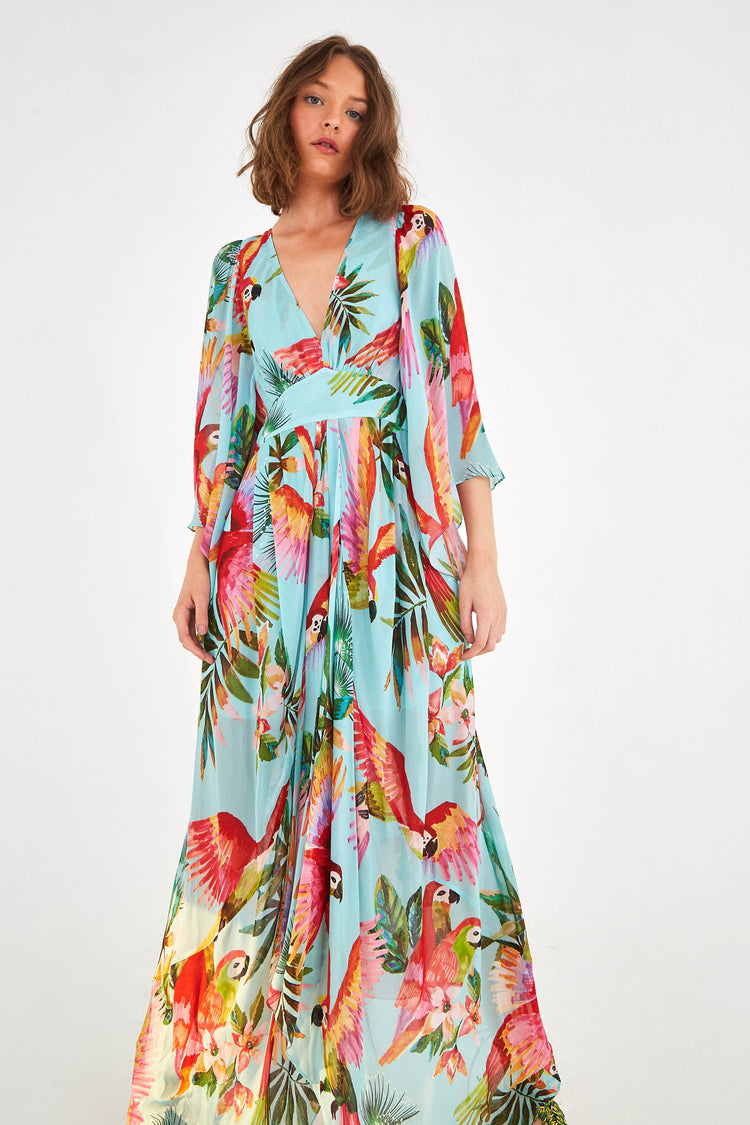 BLUE MACAW MAXI DRESS
