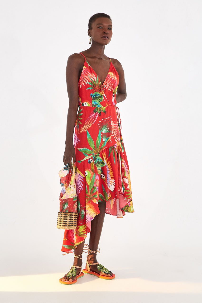 RED MACAW WRAP DRESS
