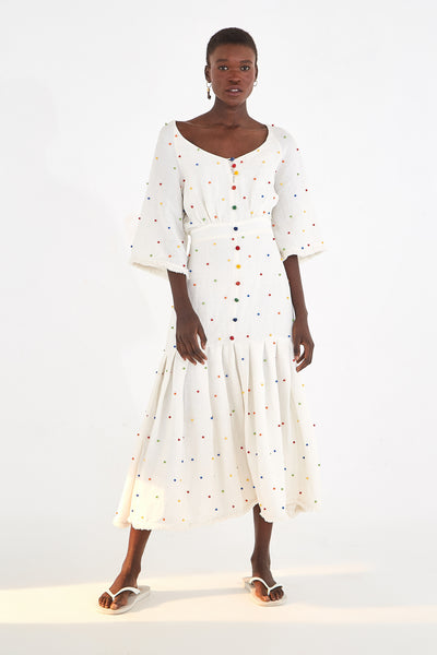 EMBROIDERED DOT MIDI DRESS