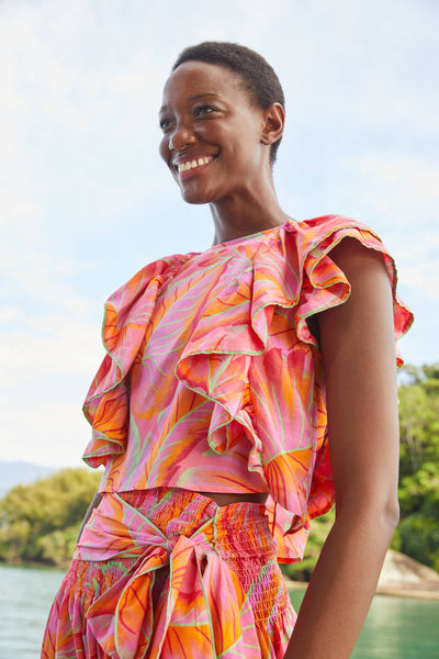 Bright Forest Frilled Top