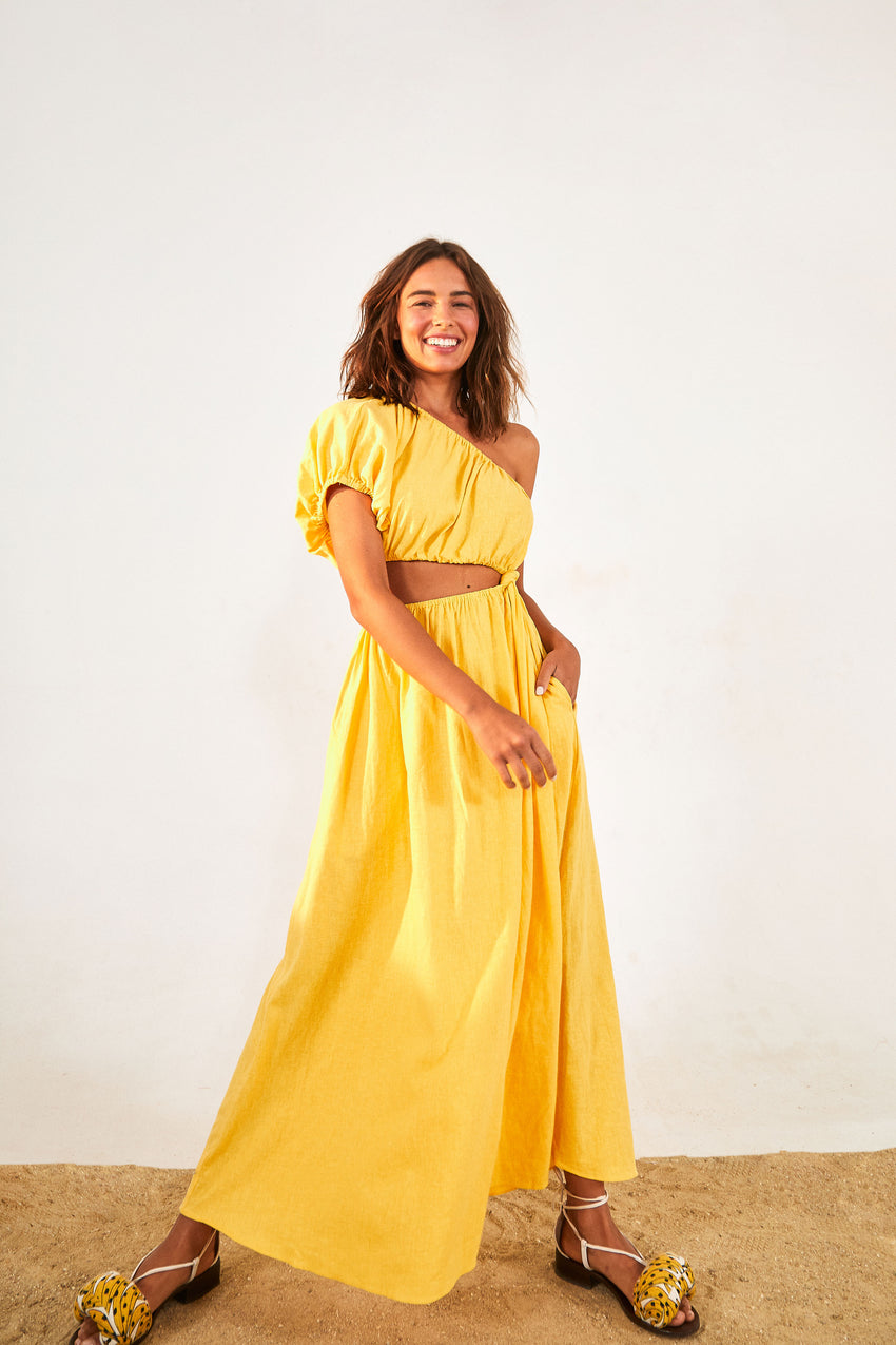 Yellow Open Waist Midi Dress
