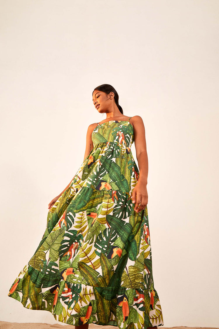 PARADISE FOREST MAXI TIERED DRESS