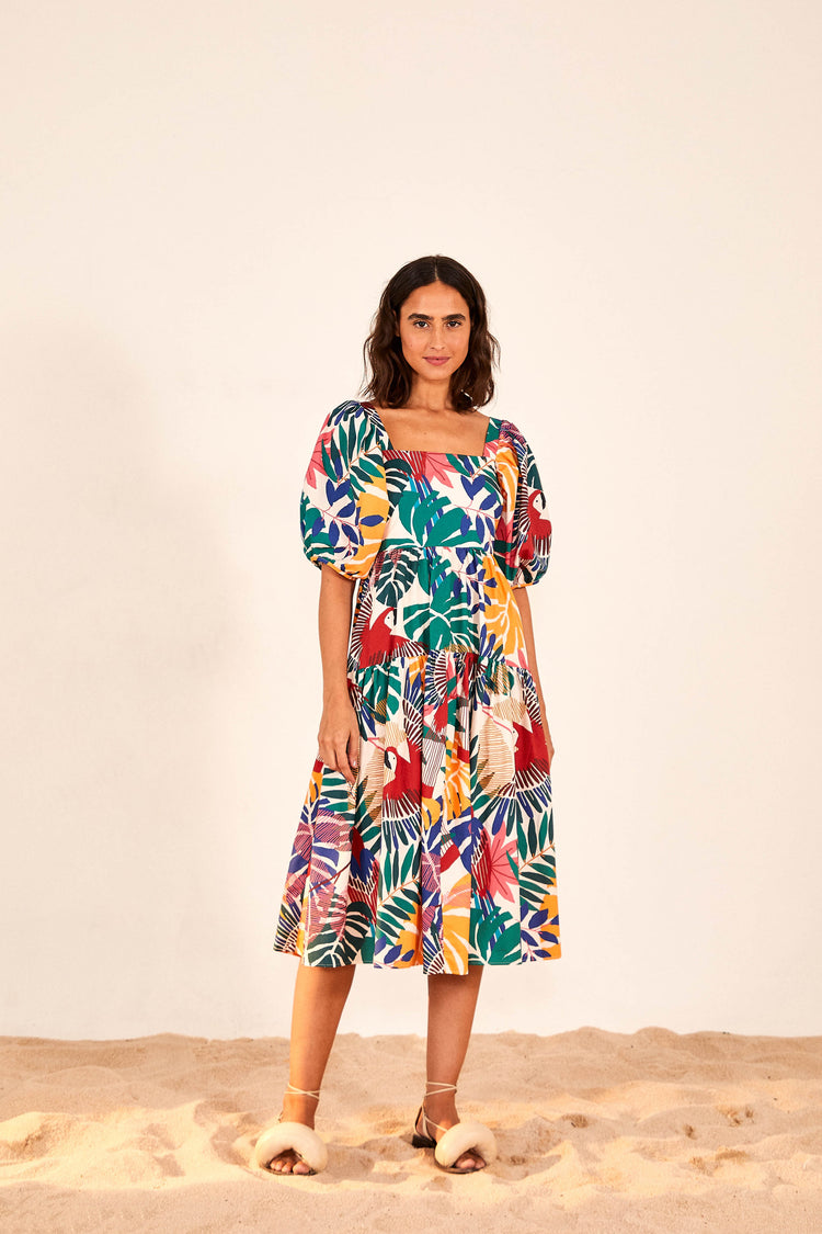 OFF WHITE MACAW MIDI DRESS