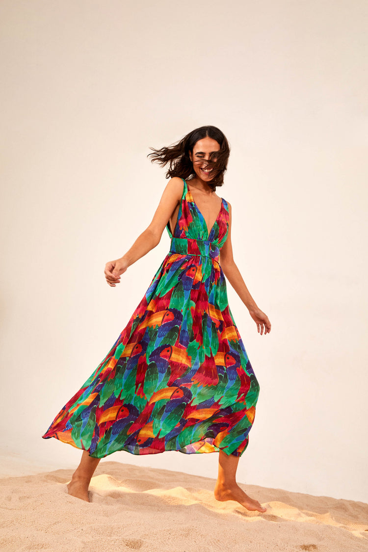 PAINTED TOUCANS MIDI DRESS