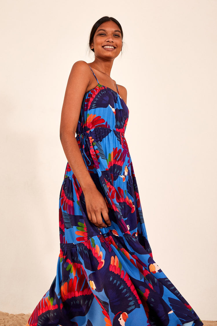 RAINBOW MACAWS MIDI DRESS