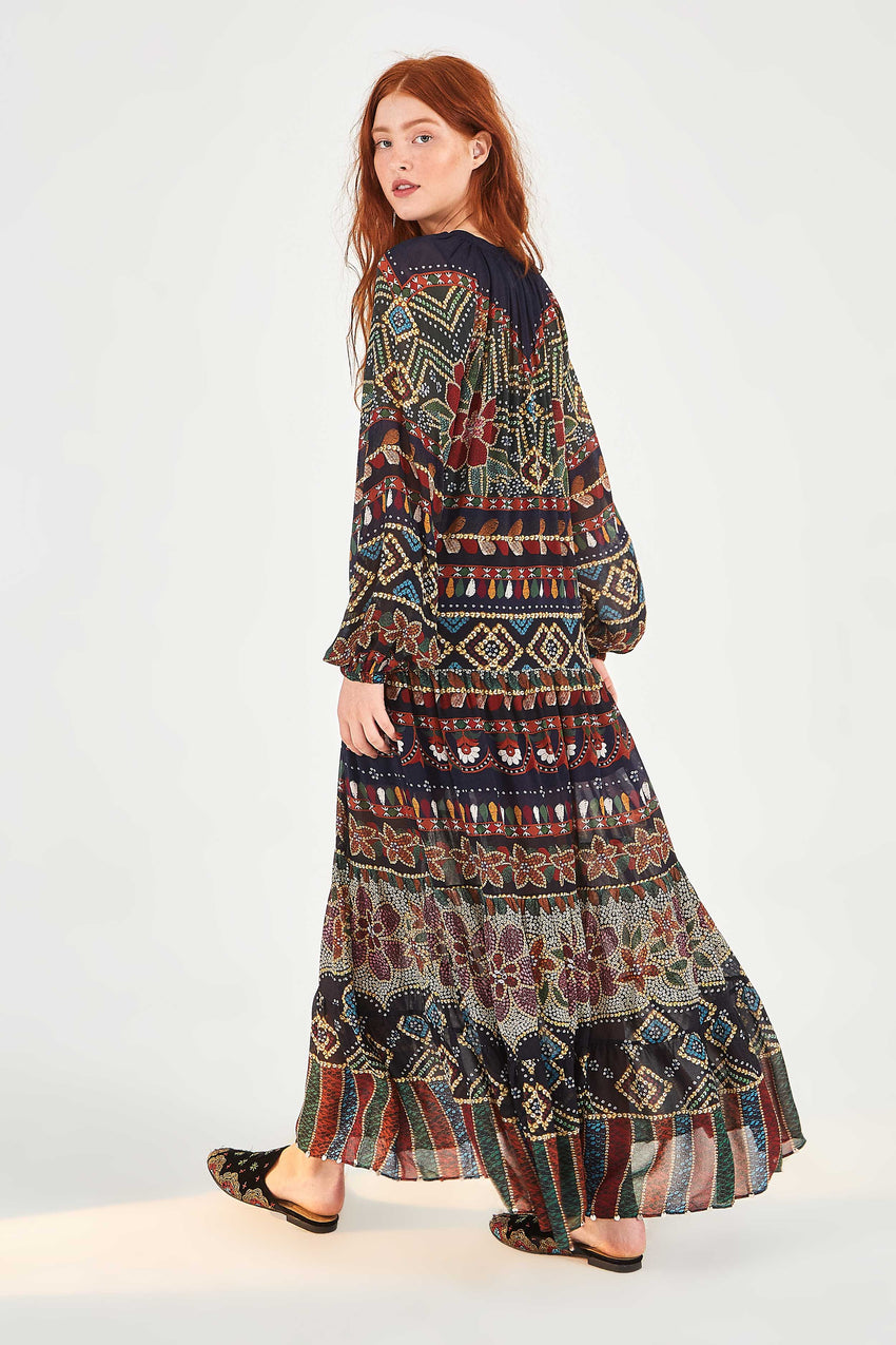 GRAPHIC SHINE MAXI DRESS