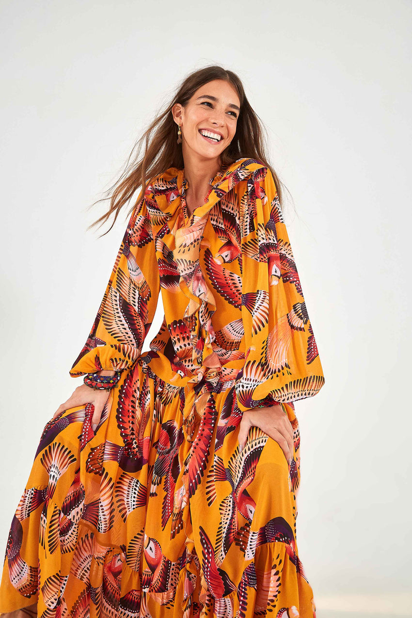 FLYING MACAW MAXI DRESS