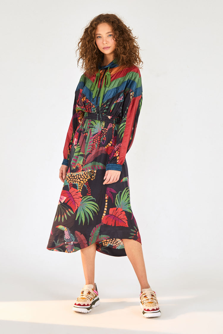 JUNGLE COLORS MIDI DRESS
