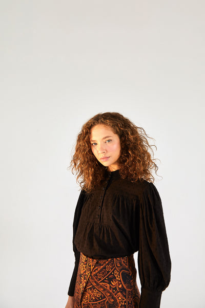 BLACK PUFF SLEVE BLOUSE