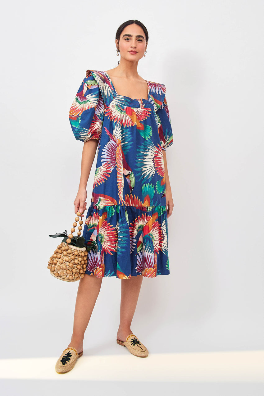NAVY COLORFUL TOUCANS MIDI DRESS