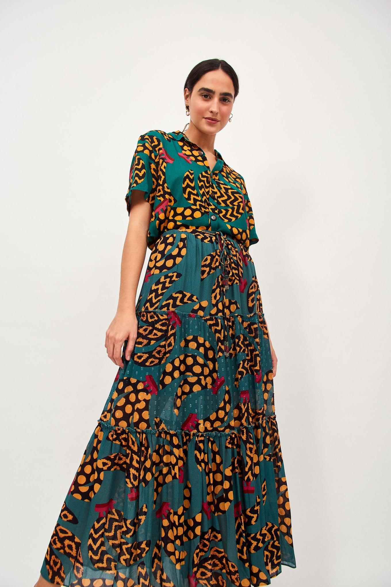 TEAL BANANAS MAXI SKIRT