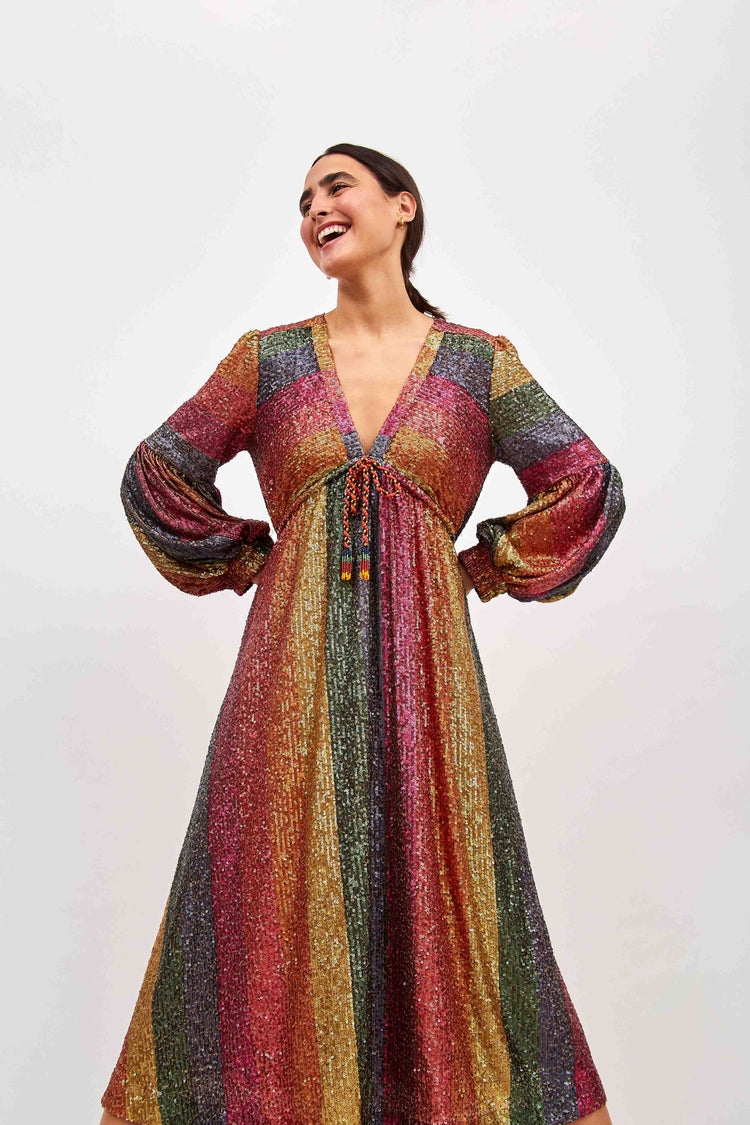 RAINBOW SEQUIN MIDI DRESS
