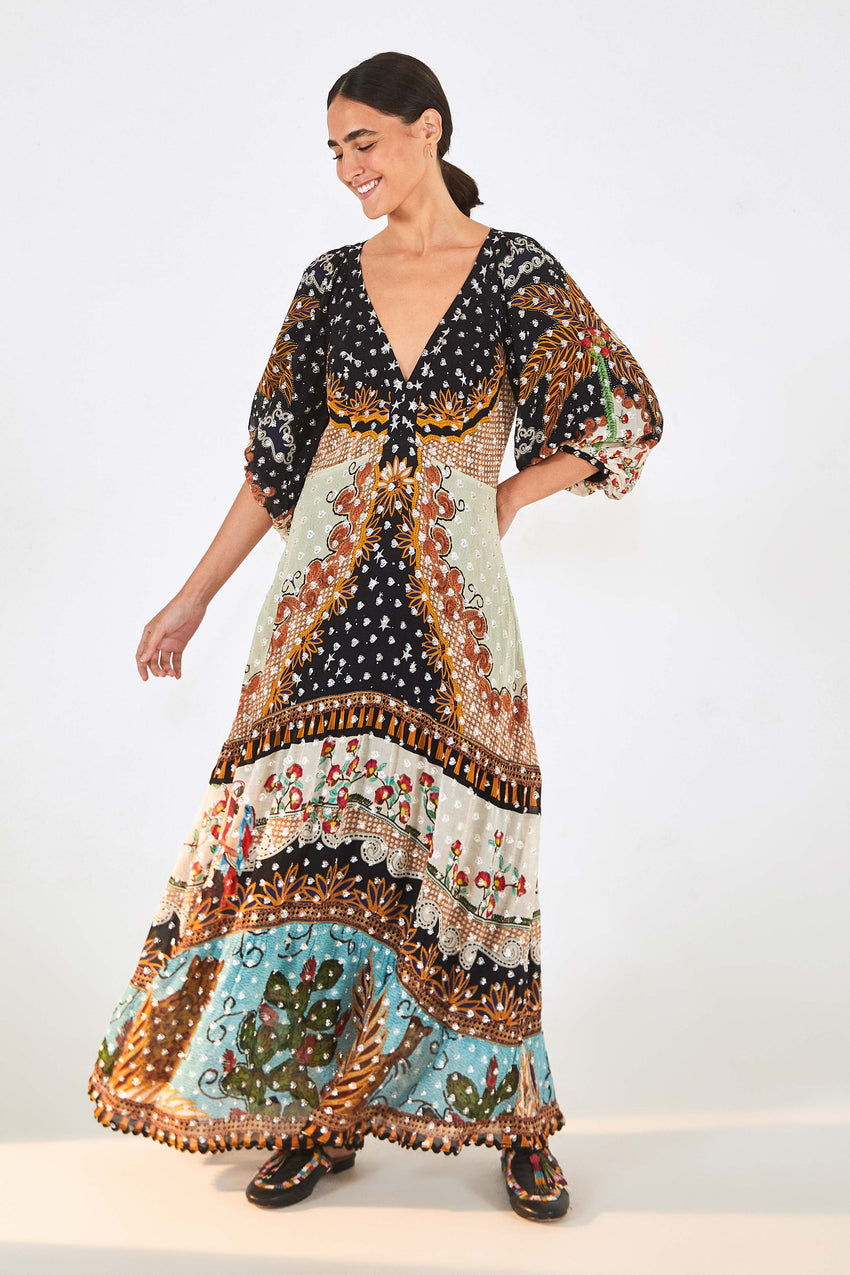EMBROIDERED FOREST MAXI DRESS