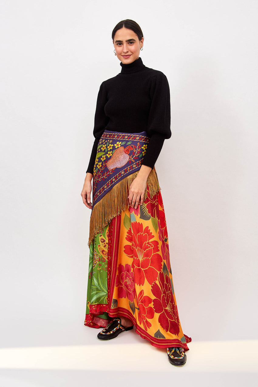 MIXED SCARF MAXI SKIRT