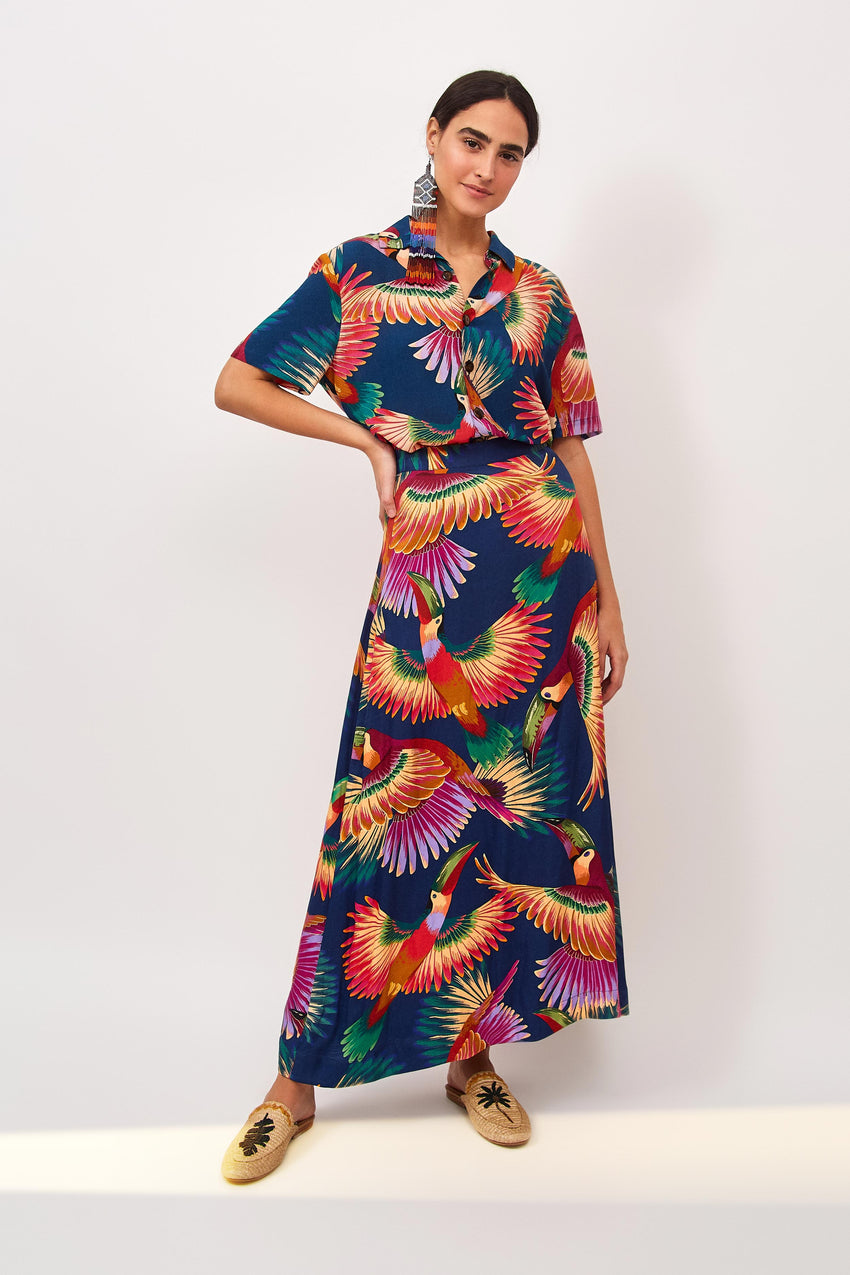 NAVY COLORFUL TOUCANS MAXI SKIRT