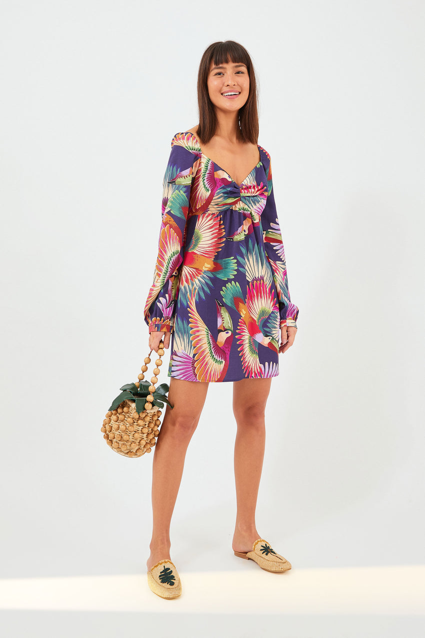 NAVY COLORFUL TUCANS MINI DRESS