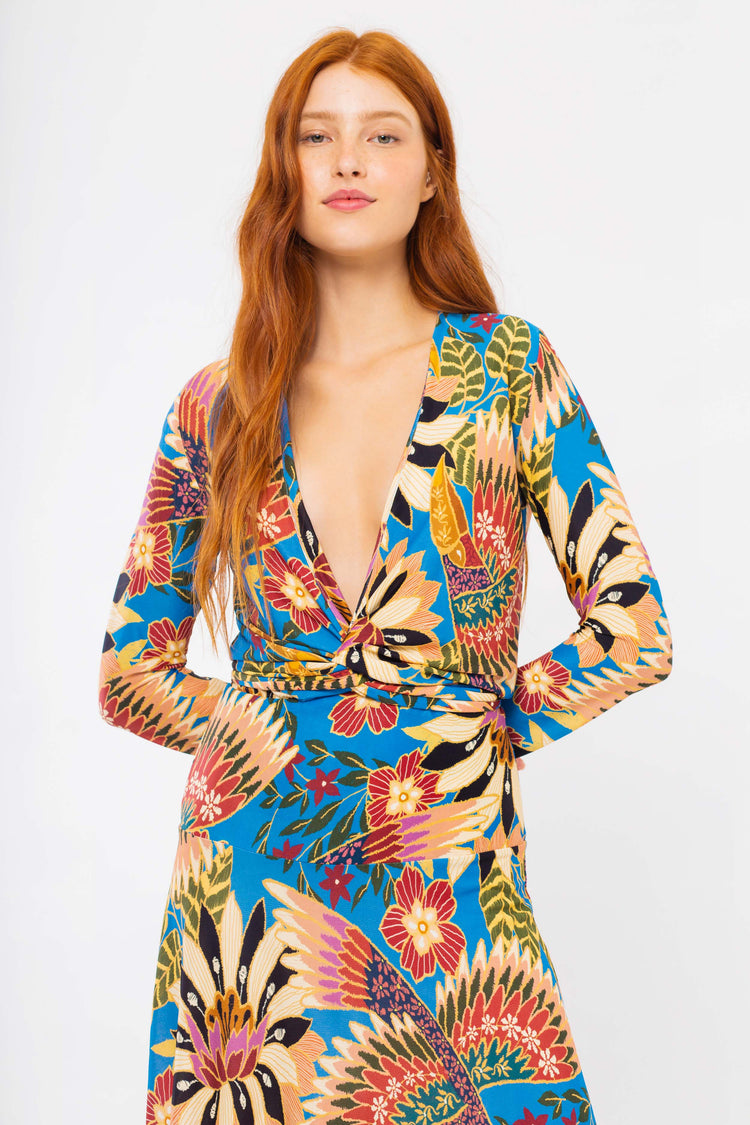 BLUE WONDERFUL TOUCANS JERSEY DRESS