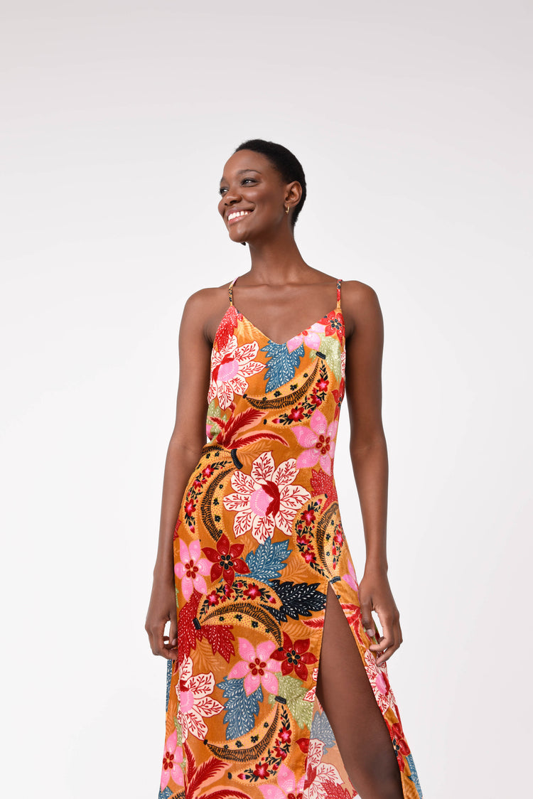 BANANA FLORAL SLIP DRESS