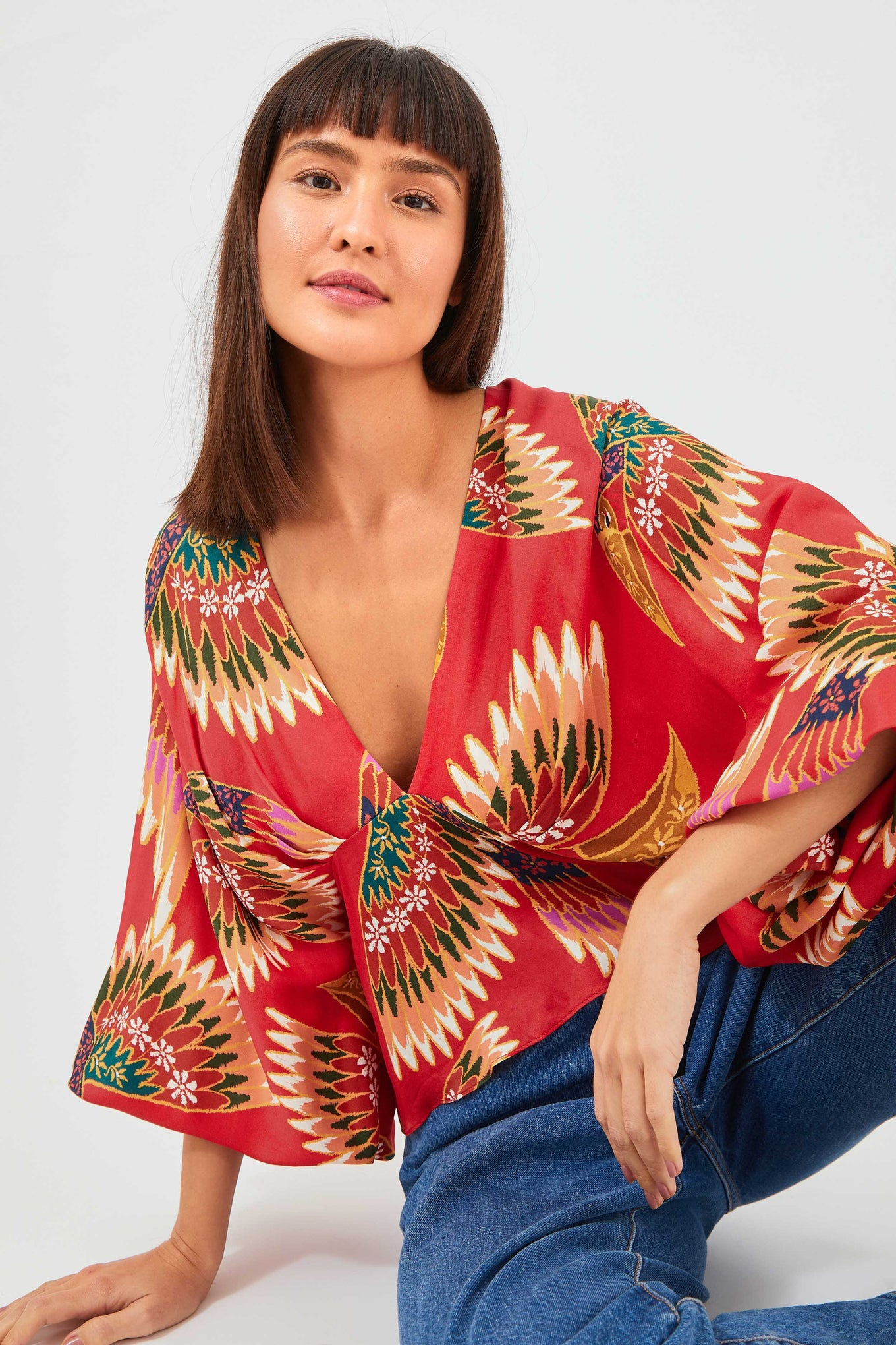 RED WONDERFUL TOUCANS BLOUSE