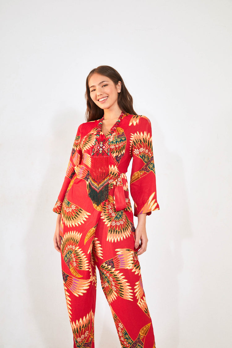 RED WONDERFUL TOUCANS JUMPSUIT