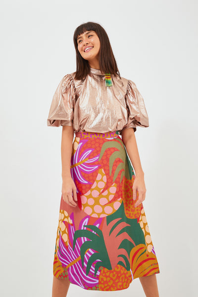 GRAPHIC JUNGLE MIDI SKIRT
