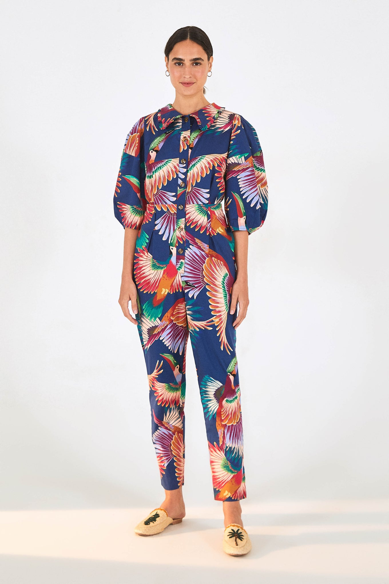 NAVY COLORFUL TOUCANS JUMPSUIT