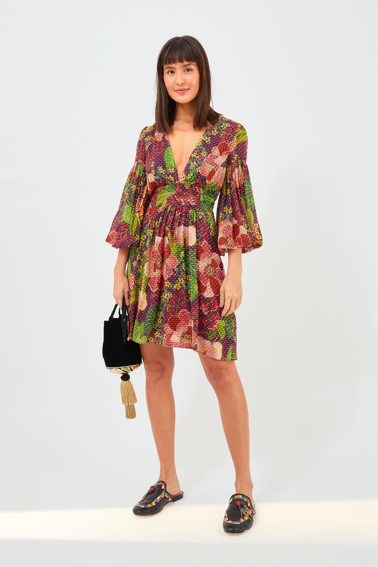 PURPLE FRUIT FLORAL MINIDRESS