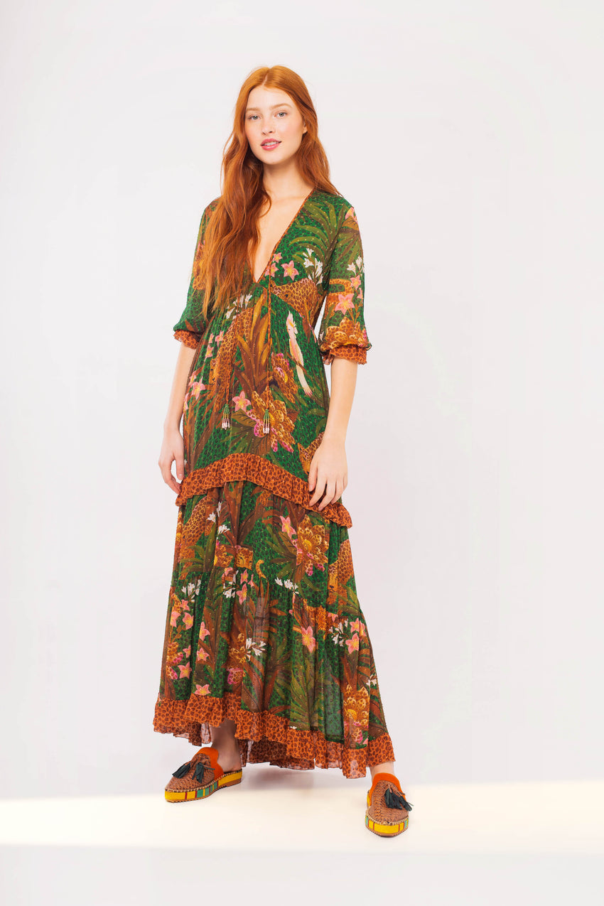 MIX WILD LEOPARDS MAXI DRESS