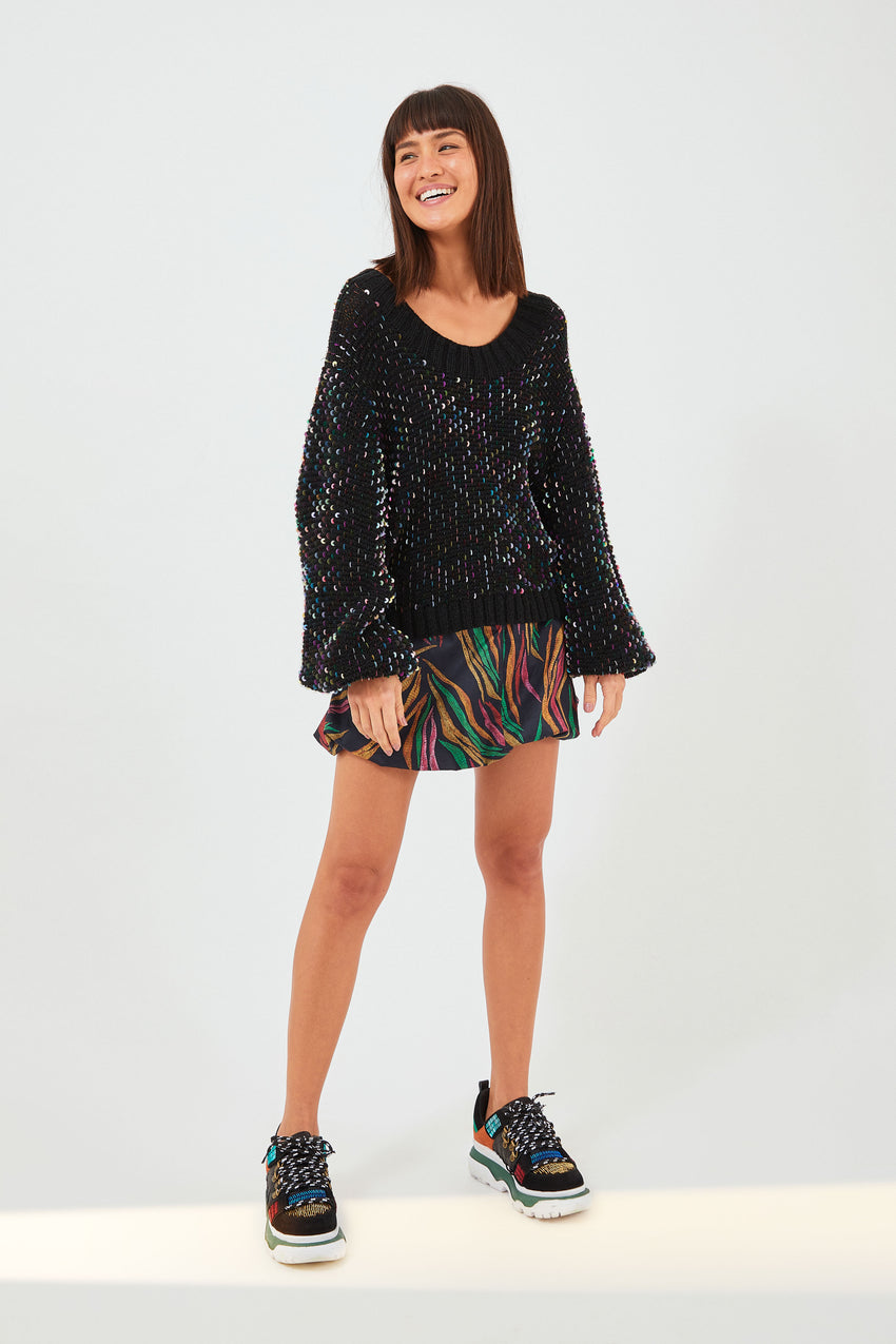 EMBROIDERED SEQUIN SWEATER