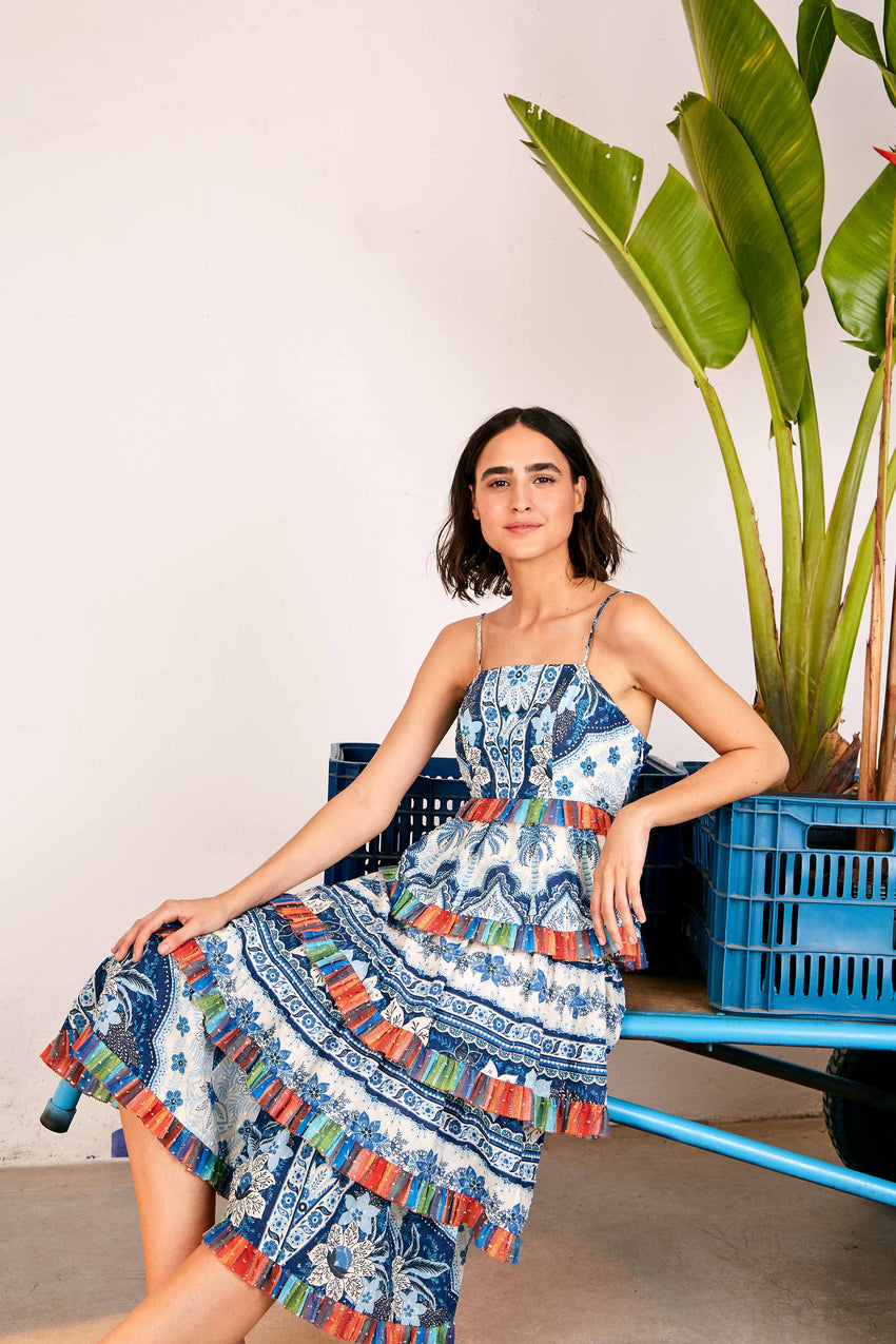 BLUE PALMS FRILLED SKIRT MIDI DRESS