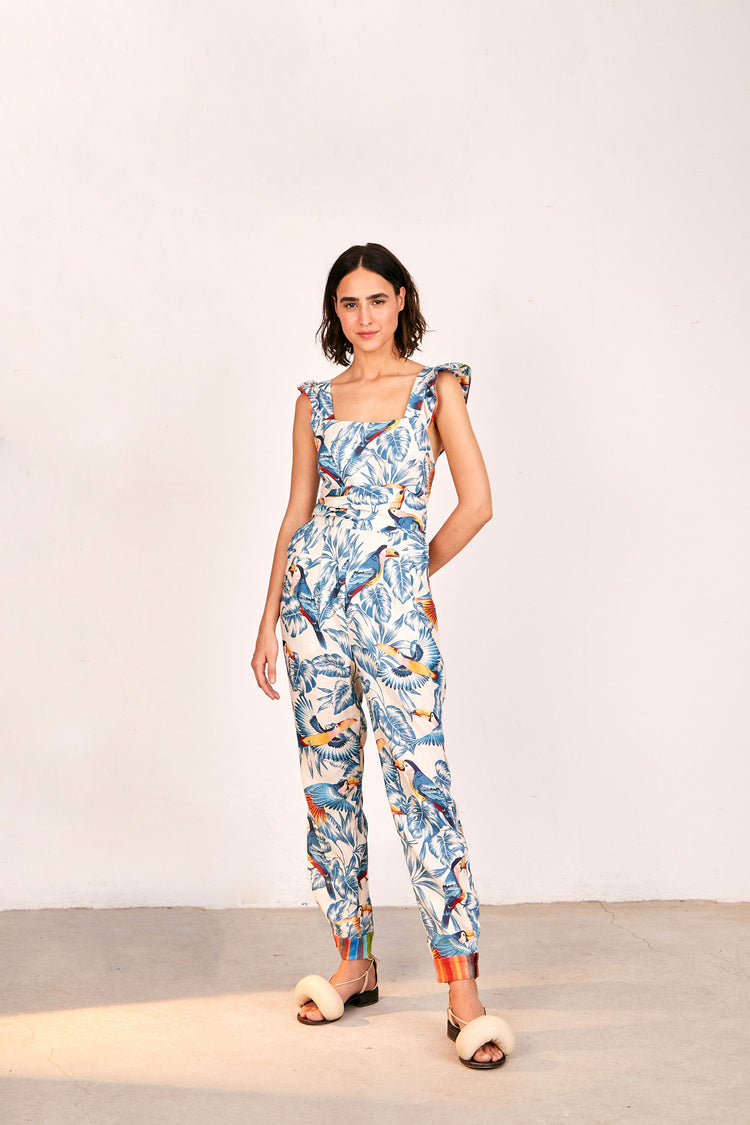 FLYING TOUCANS CROSSED BACK FRILLED JUMPSUIT