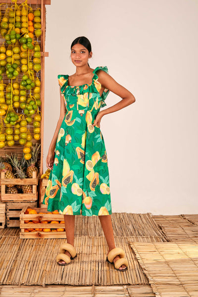 GREEN PAPAYA SALAD MIDI DRESS