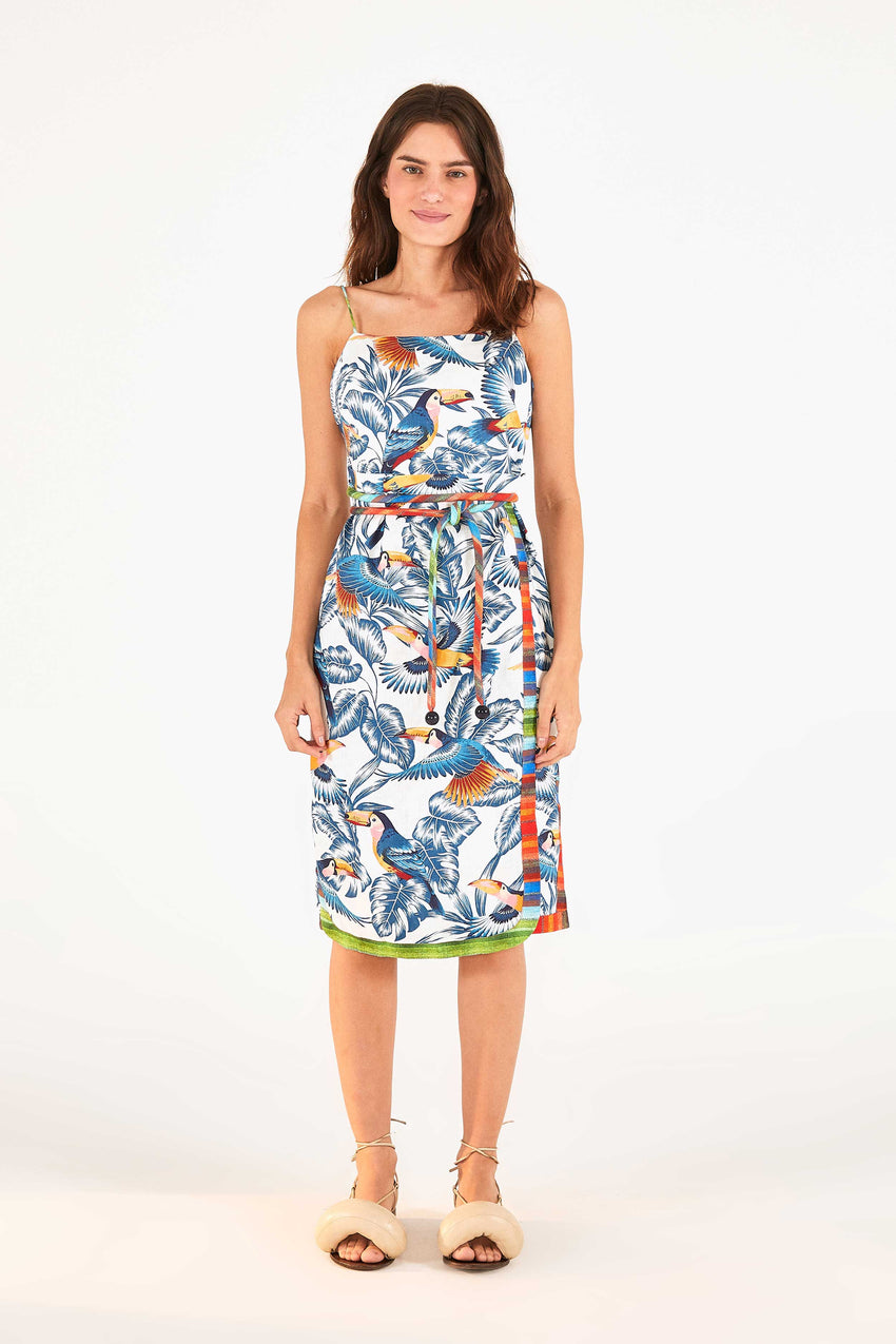 FLYING TOUCANS OPEN BACK MIDI DRESS