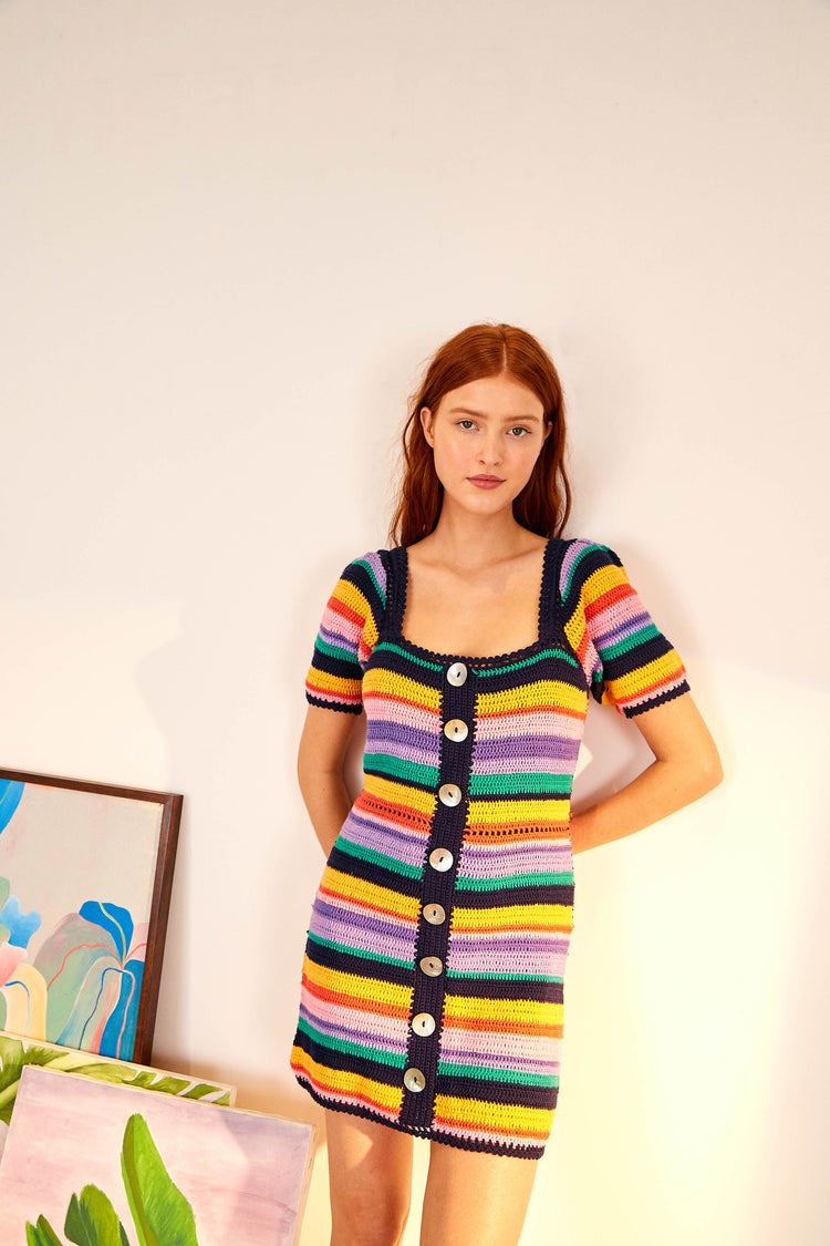 RAINBOW CROCHET MINI DRESS
