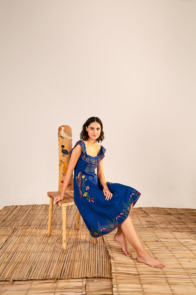 CROSS STITCH EMBROIDERED MIDI DRESS