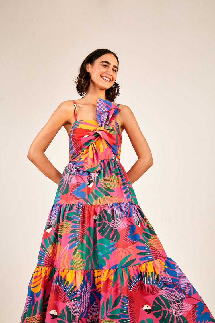 MACAW BOW TOP MIDI DRESS