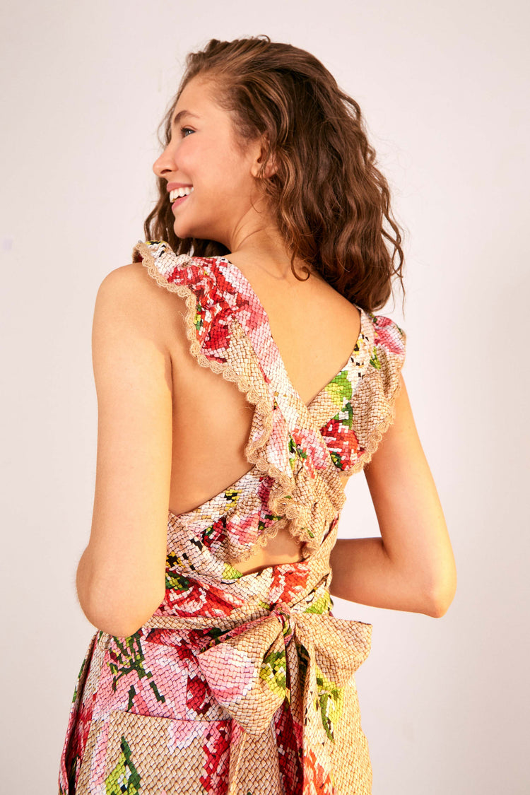 WOVEN FLORAL CROSSED BACK FRILLED ROMPER