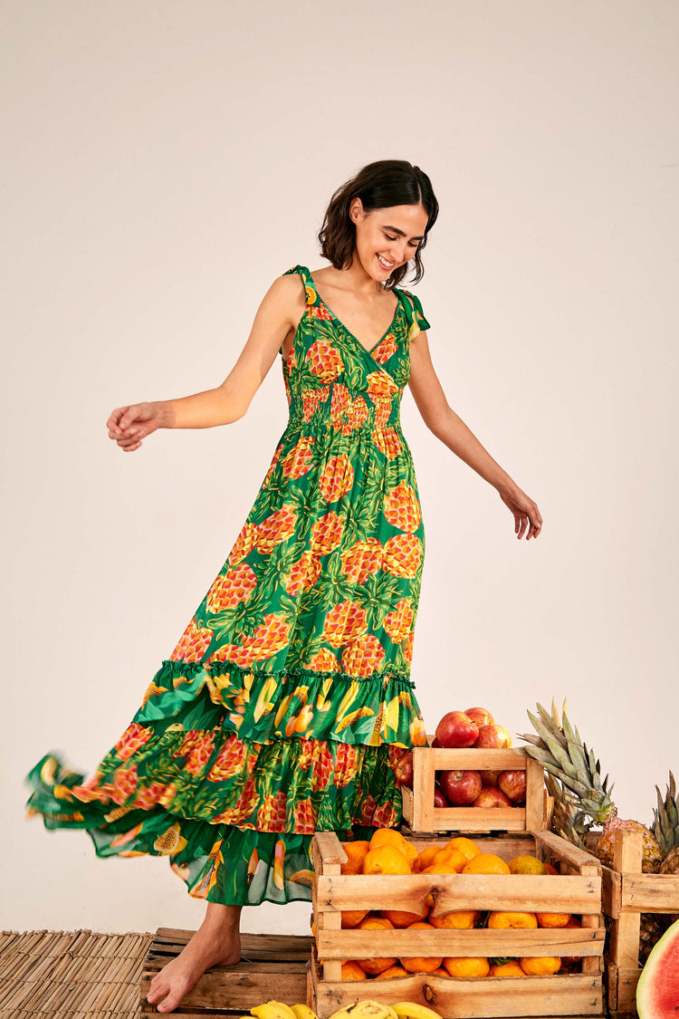 PINEAPPLE GALORE SMOCKED WAIST MAXI DRESS