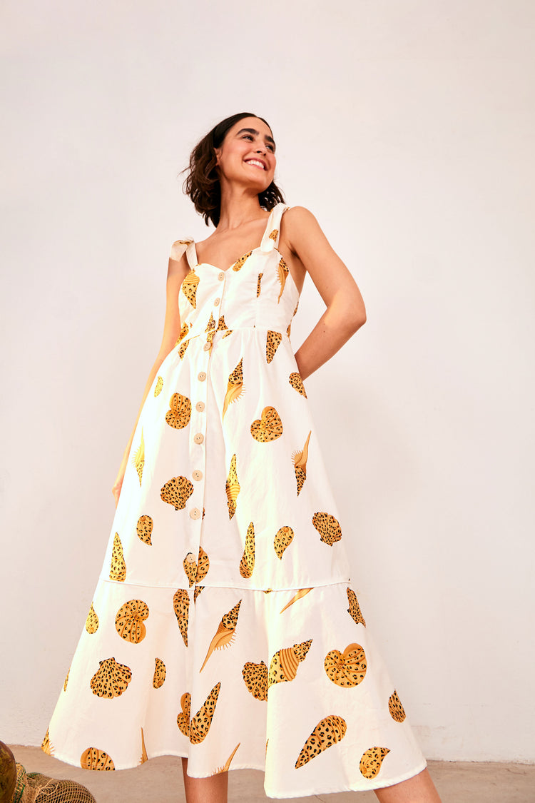 LEOPARD SHELL MIDI DRESS