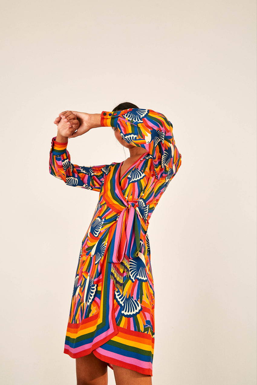 RAINBOW TOUCANS MINI WRAP DRESS