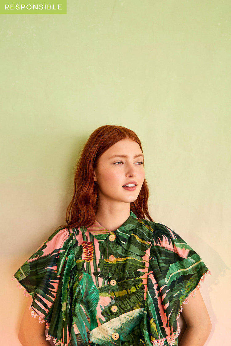 AMAZONIA FOREST FRILLED SLEEVES SHIRT
