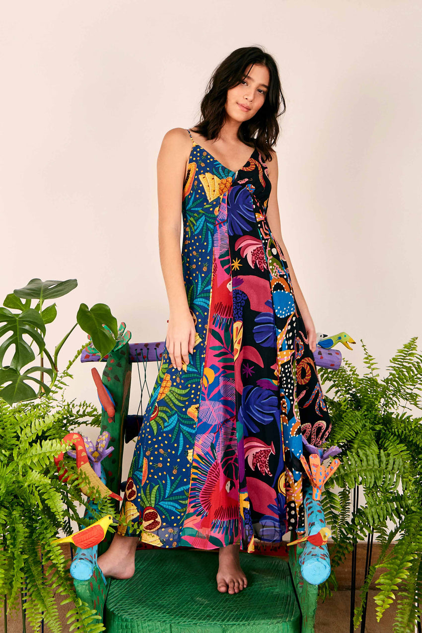 DARK MIXED PRINTS TIERED DRESS