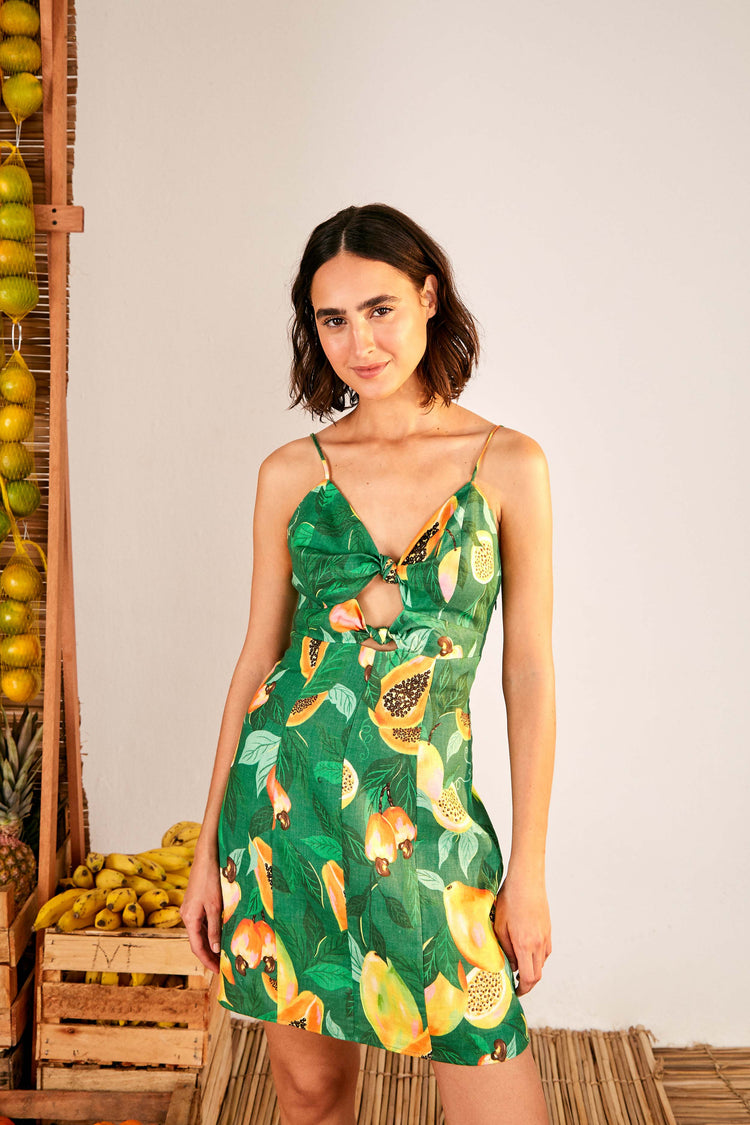 GREEN PAPAYA SALAD MINI DRESS