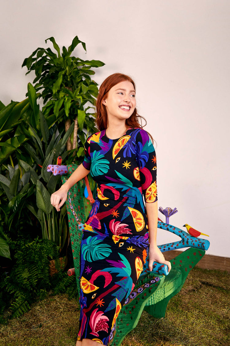 MYSTIC JUNGLE MIDI KNIT DRESS