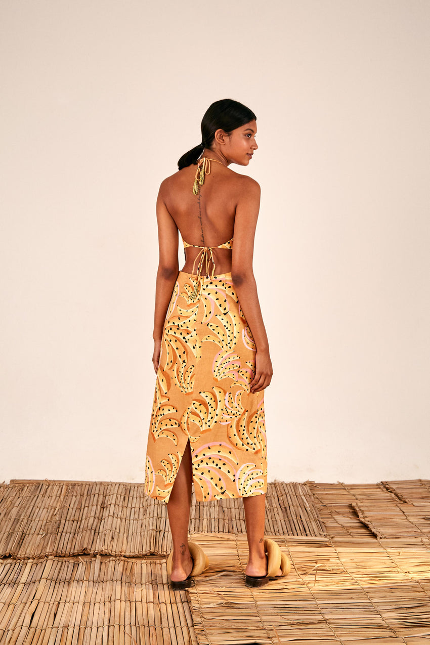 CARAMEL RAINING BANANAS MIDI DRESS