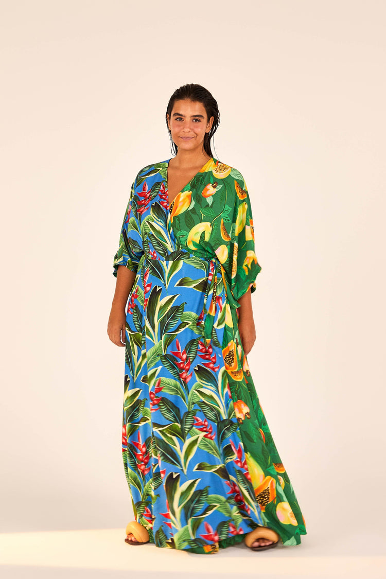 DUAL PRINTS PAPAYA DREAM MAXI WRAP DRESS