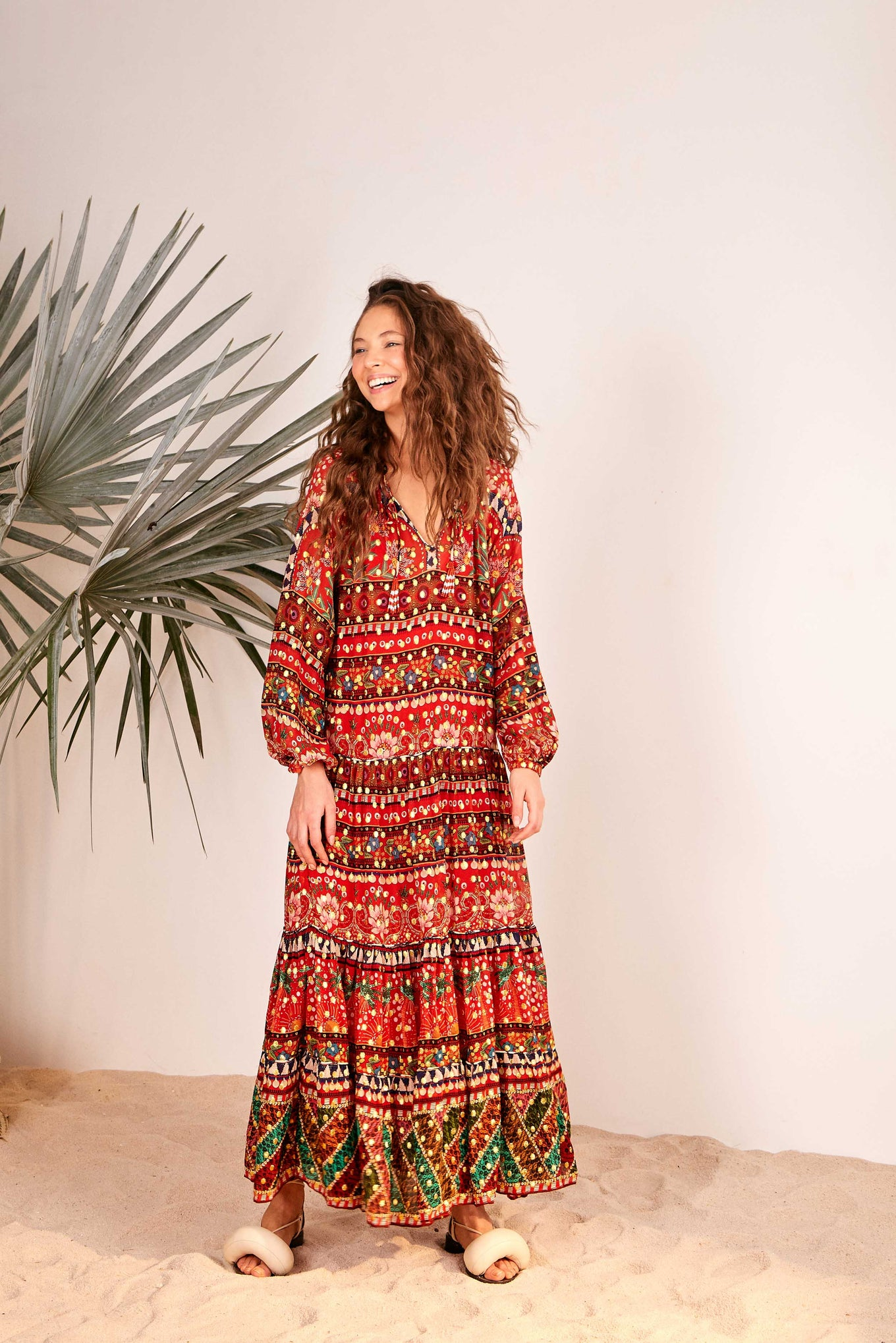RED TROPICAL SHINE MAXI DRESS