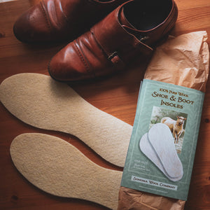 Wool Shoe Insoles next to Leather Boots