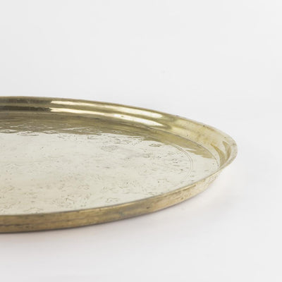 Tablett Messing – Casa Eurabia, gold, Ø 52 cm, H 3 cm, Marokko, antik, Design