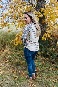 Stripe & Leopard LS Top